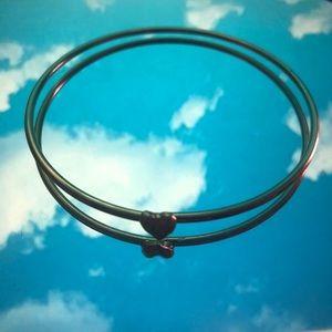 gold bangle heart bracelet